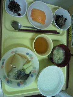 手術後の病院食(夕飯)